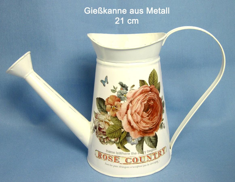 Gießkanne Dess. Rose 22x34 cm (HxB) aus Metall im Vintage-Stil