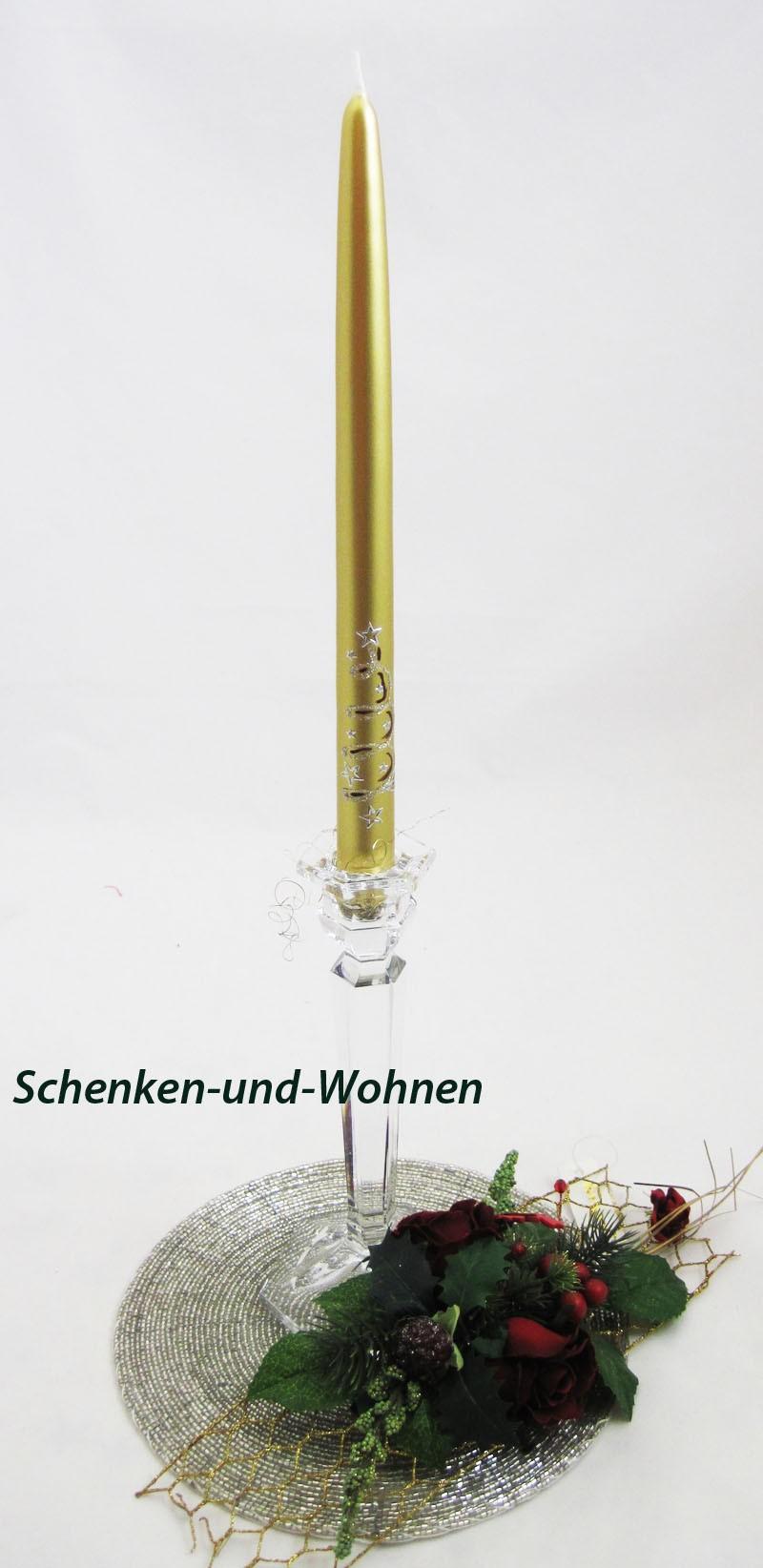 """Leuchterkerze """"Weihnachtswind"""" gold  ca. 30 cm"""