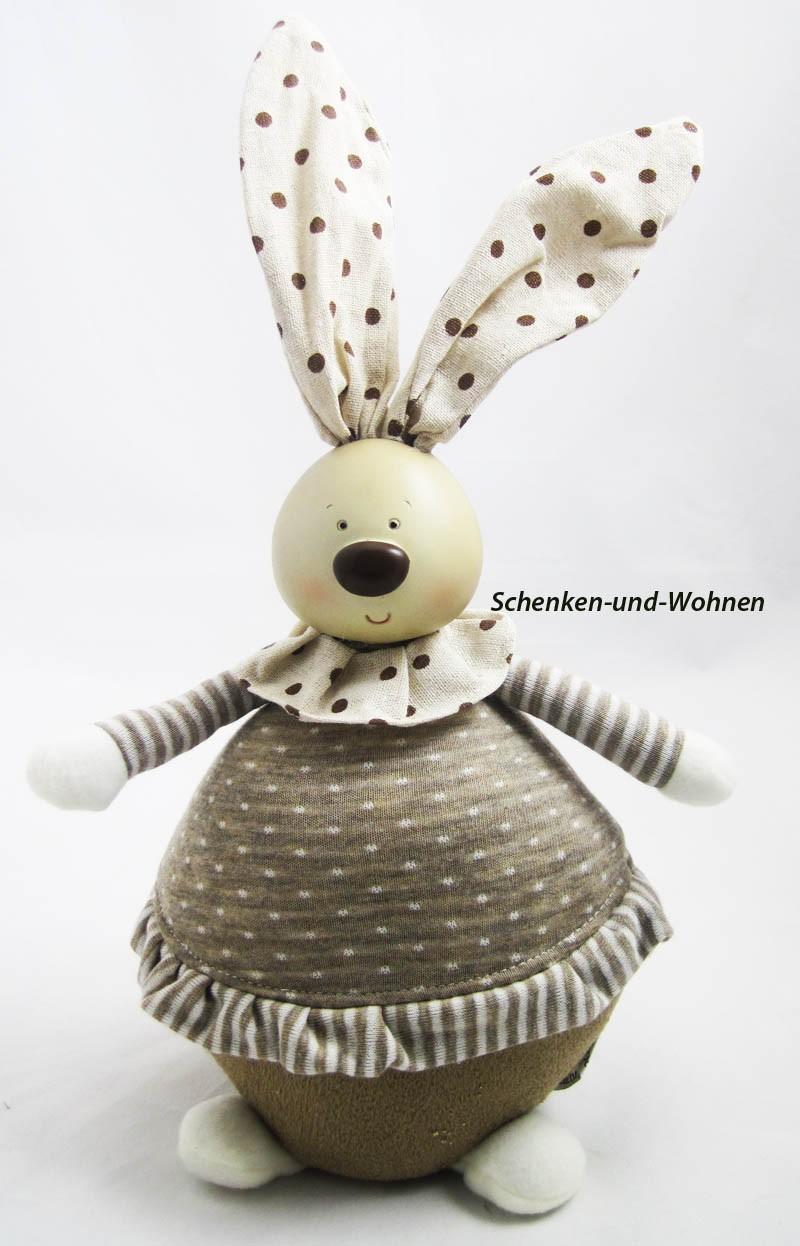 Hasenfrau Textil creme-braun, ca. 36 cm