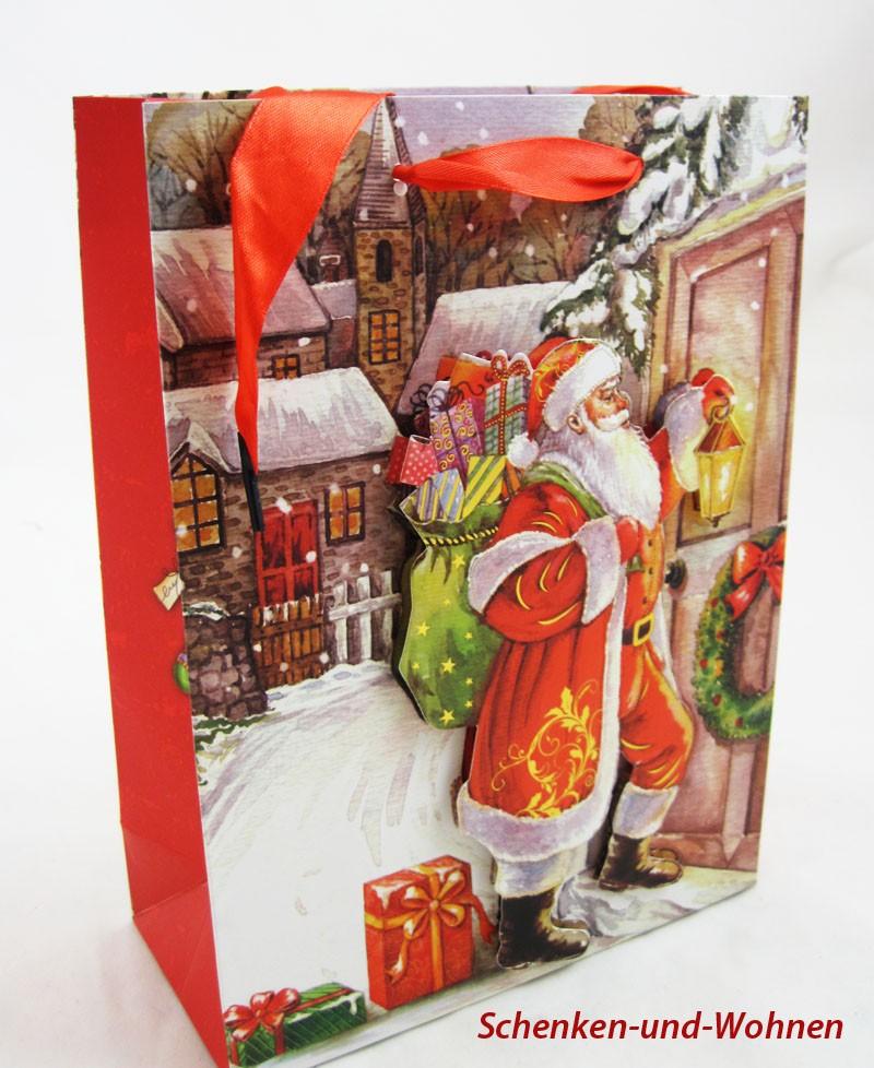 Papiertragetasche 3D Christmas Style, Santa mit Laterne ca. 24 x 8 x 18 cm