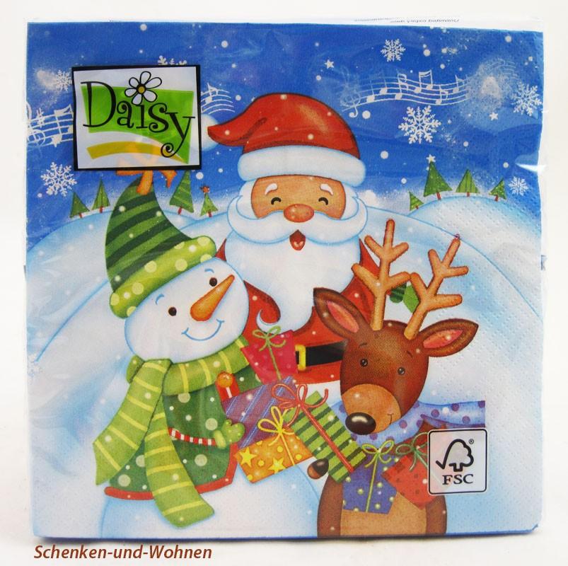 Weihnachts-Lunch-Servietten WM/Schneemann 20 Stück 33 x 33 cm