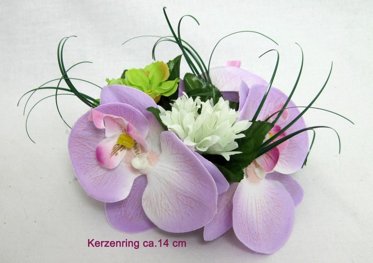 Kerzenring Blütenring Orchidee lila für Stabkerzen ca. 14 cm