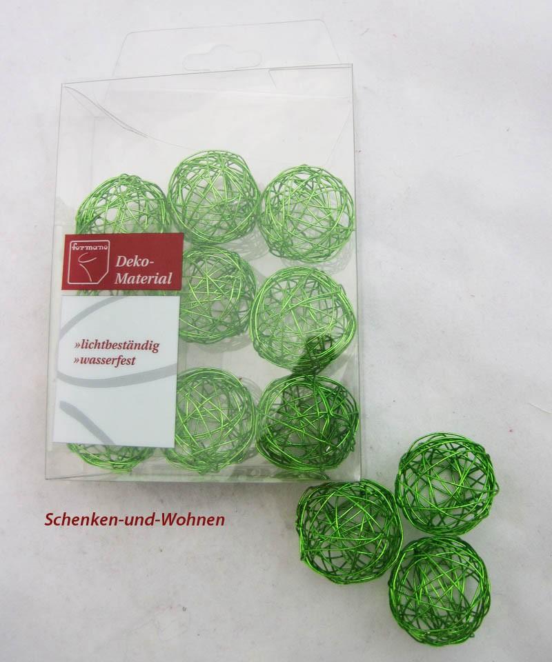 Drahtbälle, Drahtkugeln 12-er Set Apfelgrün, ca. 3 cm Durchmesser