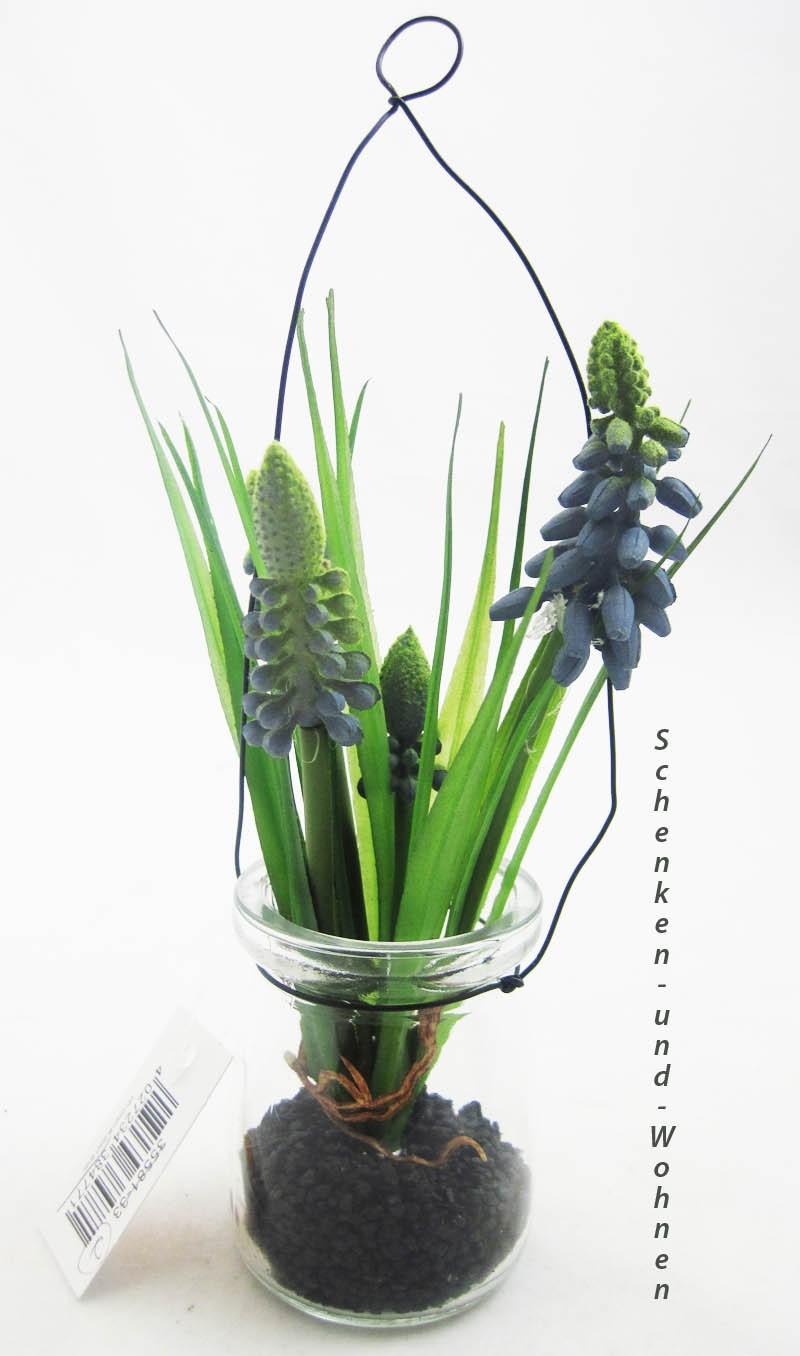 Muskari-Kunstblume blau im Glas zum Hängen ca. 17cm