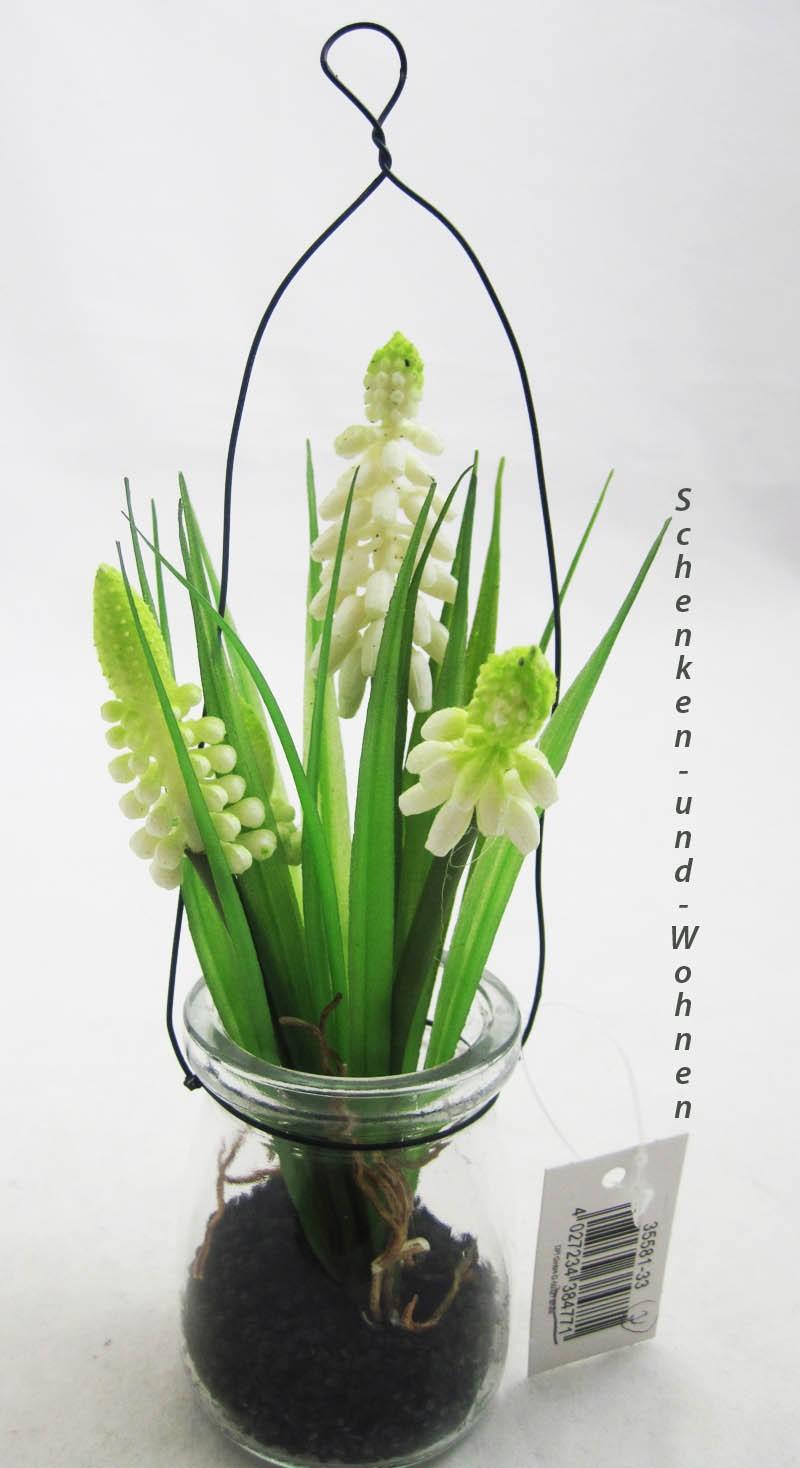 Muskari-Kunstblume weiß im Glas zum Hängen ca. 17cm
