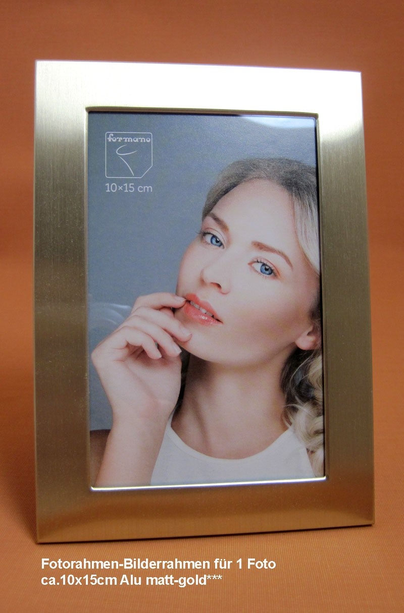 Fotorahmen Bilderrahmen für Fotos ca.10x15 cm Alu matt-gold