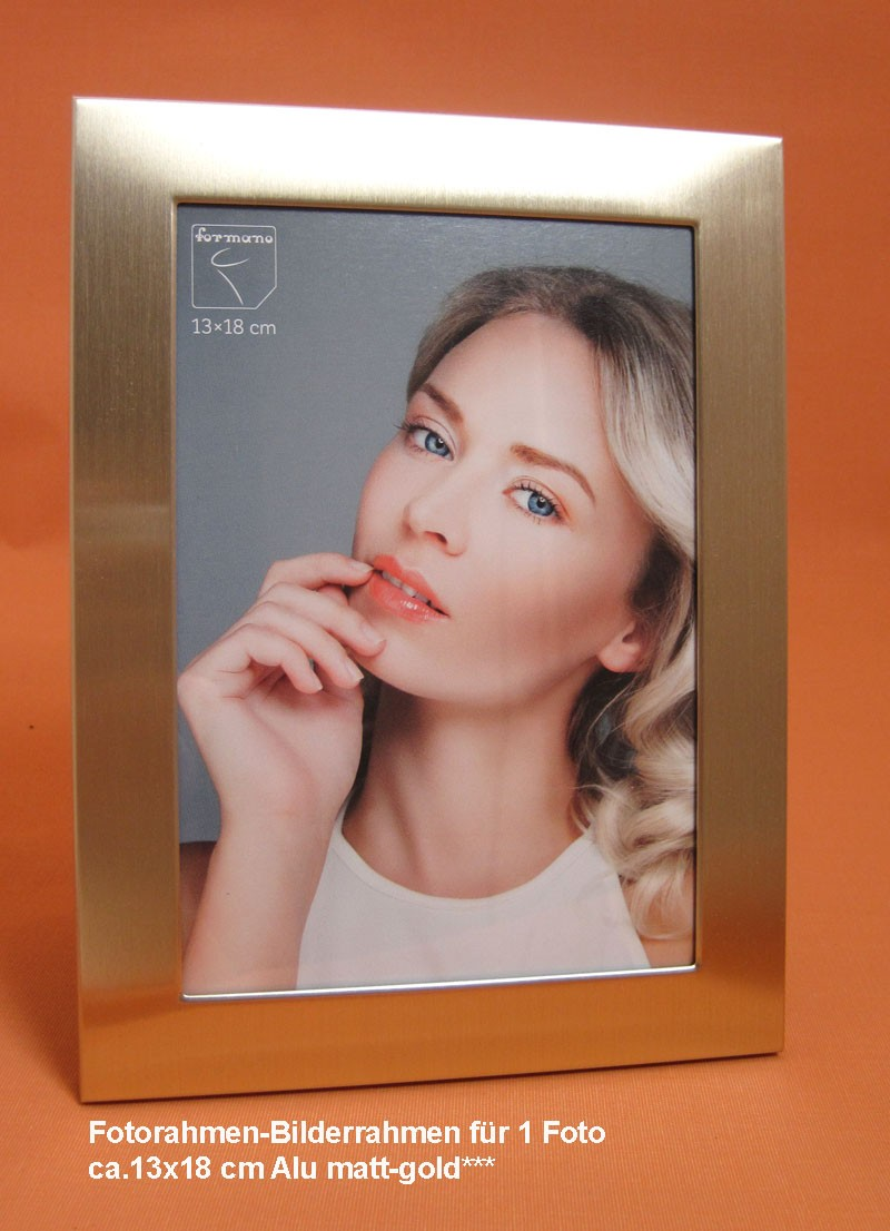 Fotorahmen Bilderrahmen für Fotos ca.13x18 cm Alu matt-gold
