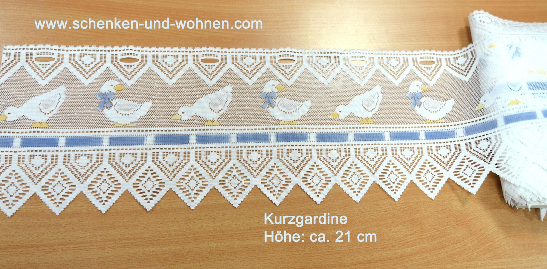 Kurzgardine handcoloriert mit Entenmotiv weiß/taubenblau/gelb ca. 21 cm hoch
