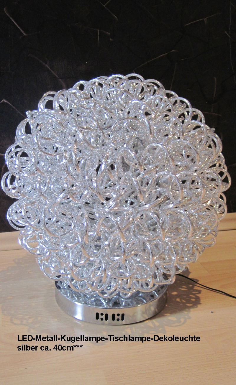 LED-Metall-Kugellampe-Tischlampe-Dekoleuchte silber ca. 40cm