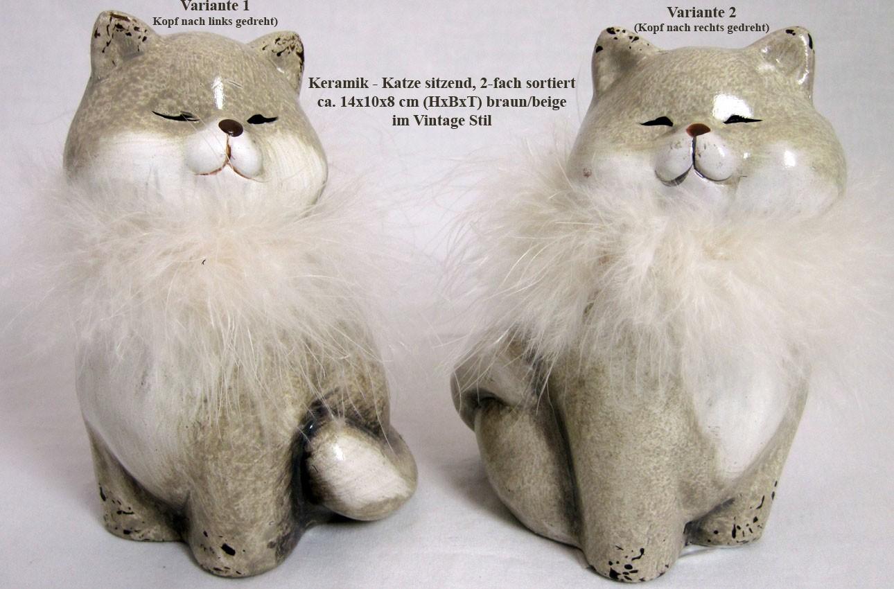 Keramik - Katze sitzend im Vintagestil 2-fach sortiert braun/beige 14x10x8 cm