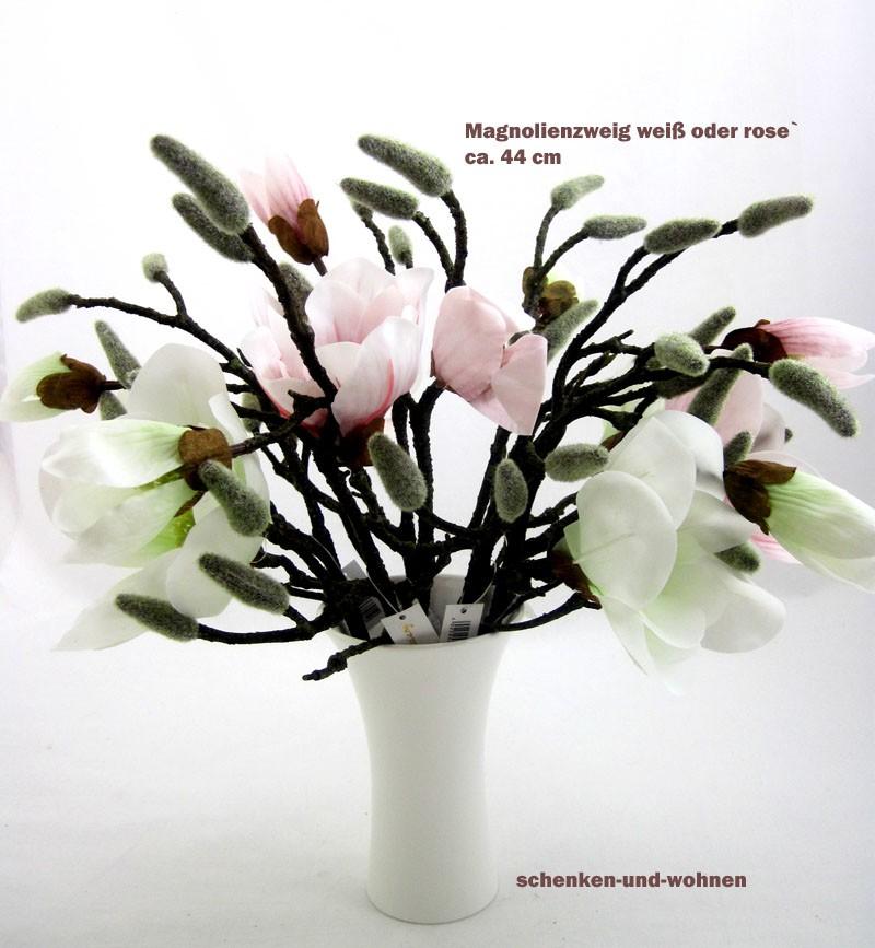 1 Magnolienzweig Real Touch, künstlich  Weiß ca. 44 cm