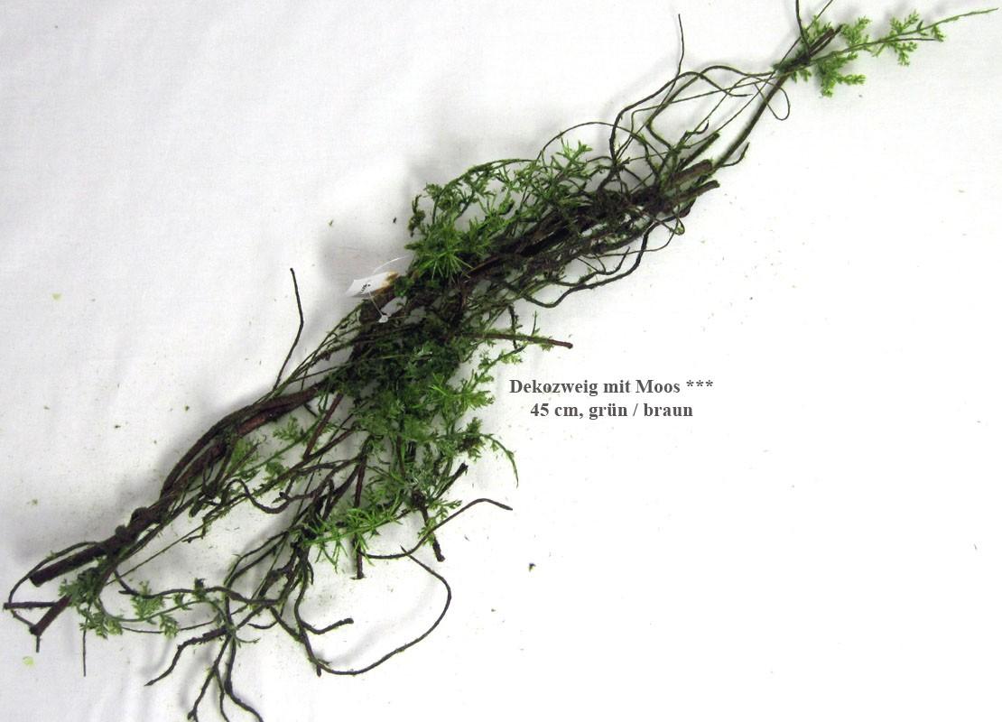 1 Dekozweig Wurzel mit Moos, künstlich, grün/braun, ca. 45 cm