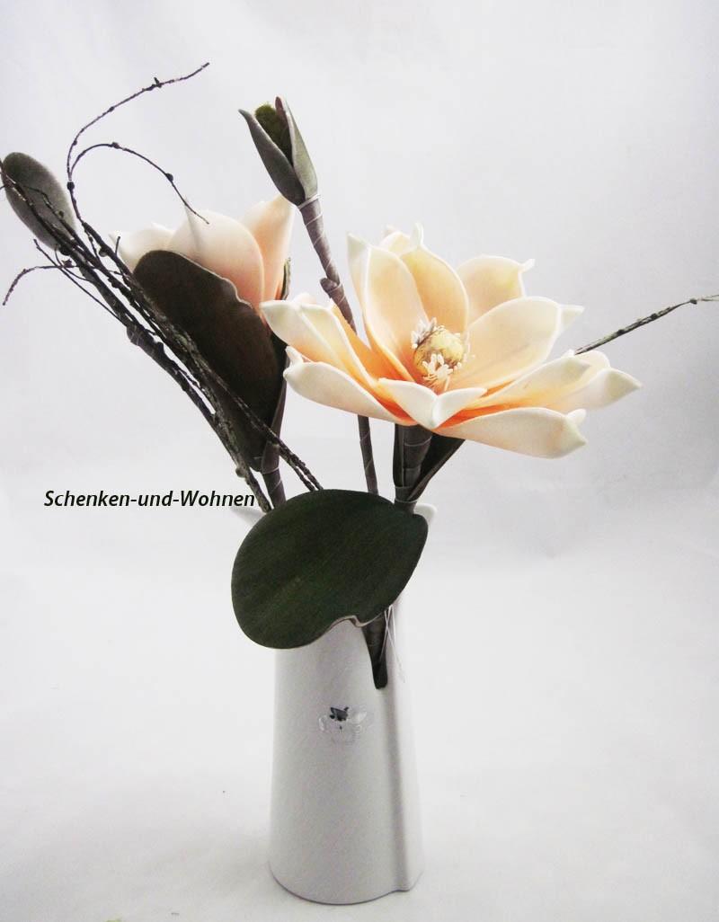 Magnolienzweig geschäumt, künstlich  lachs-weiß ca. 42 cm