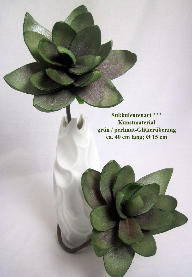 Sukkulentenzweig künstl., grün mit Perlmutglitzerüberzug, ca.40cm lang, Ø 15cm