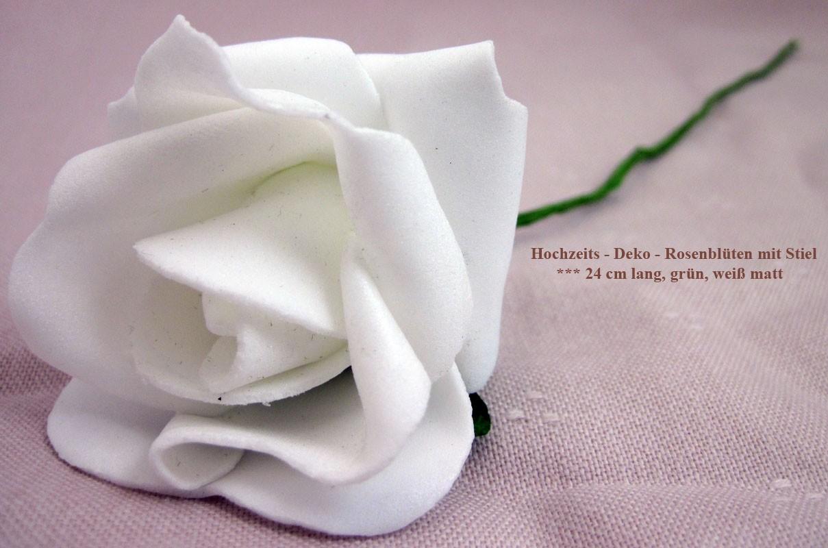 Hochzeits - Deko - Rosenblüte mit Stiel, weiß / grün, 24 cm lang