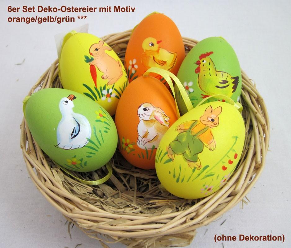 6er Set Deko-Ostereier mit Motiv, grün/gelb/orange