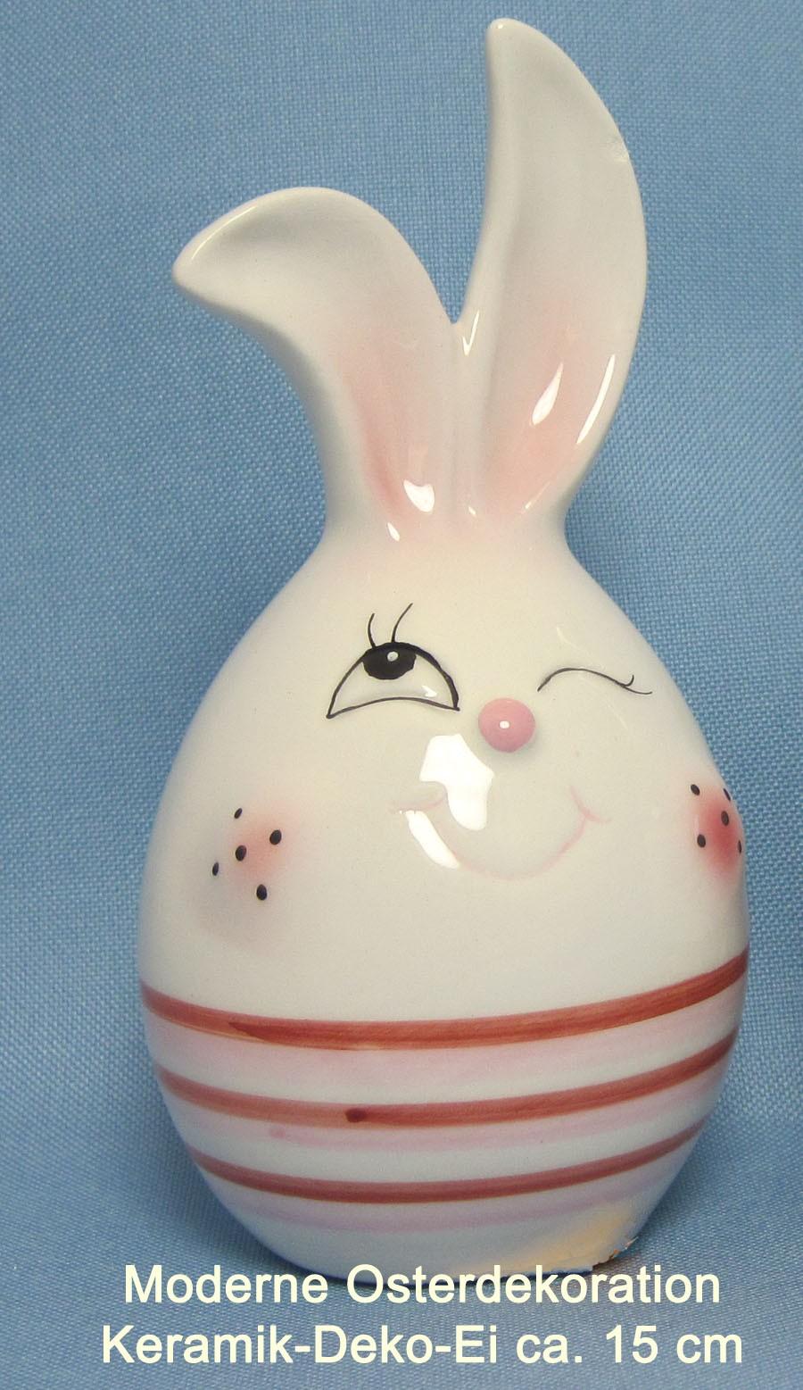 Keramik Deko-Ei ca. 15 cm mit roten Streifen und Hasengesicht