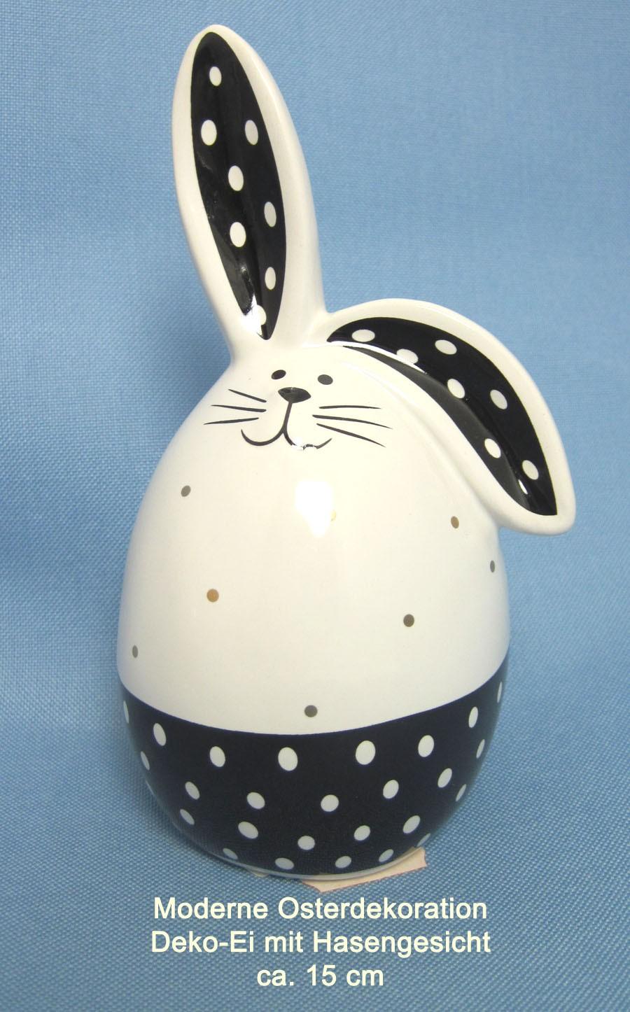Keramik Deko-Ei ca. 15 cm schwarz-weiss mit Hasengesicht