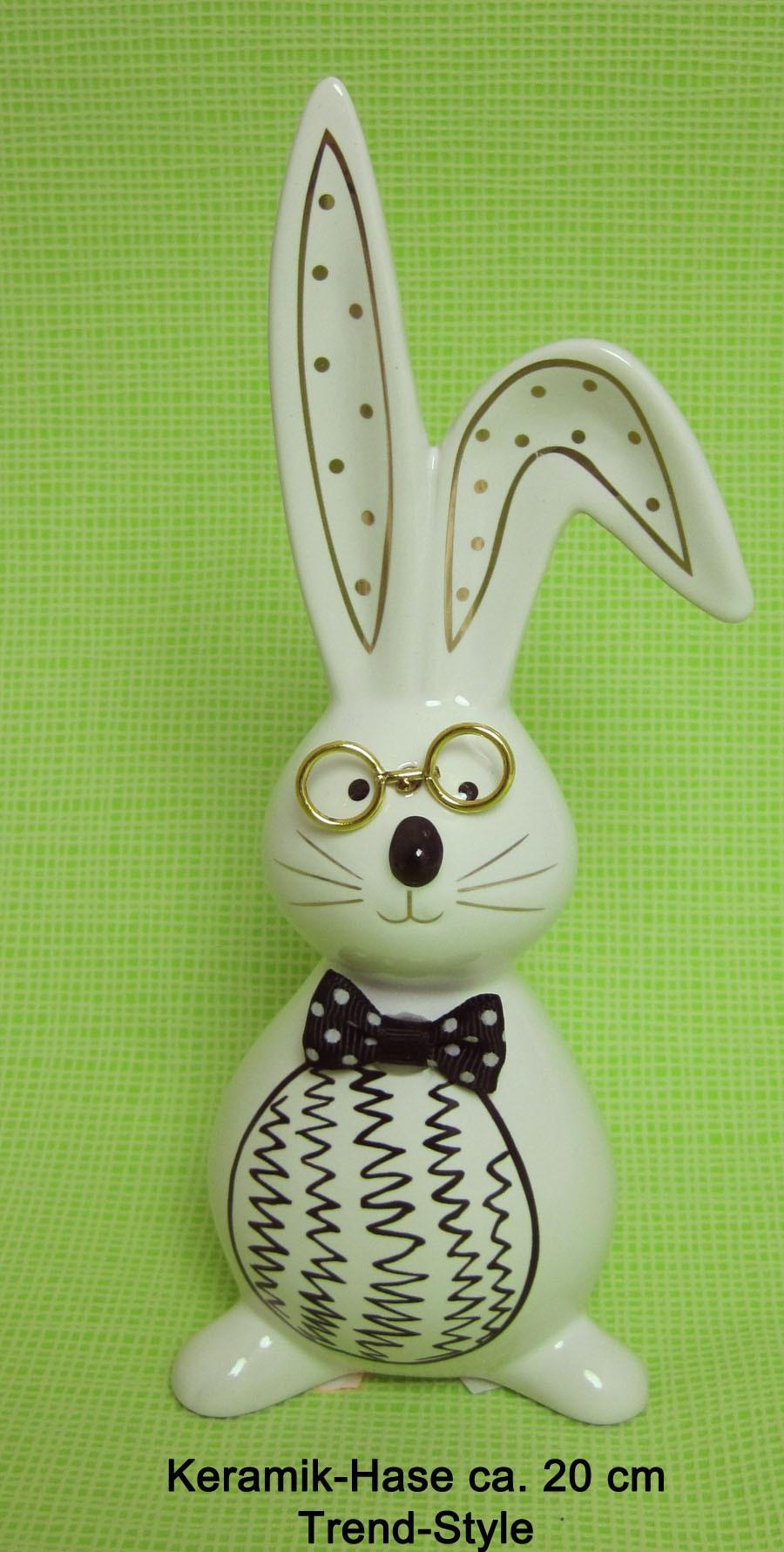 Keramik-Hase weiss-schwarz mit Brille ca. 20 cm