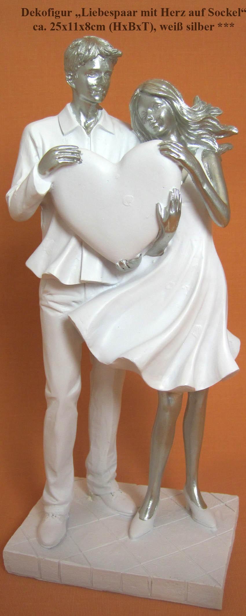 Dekofigur Paar mit Herz stehend auf Sockel, weiß silber, ca. 25x11x8 cm (HxBxT)