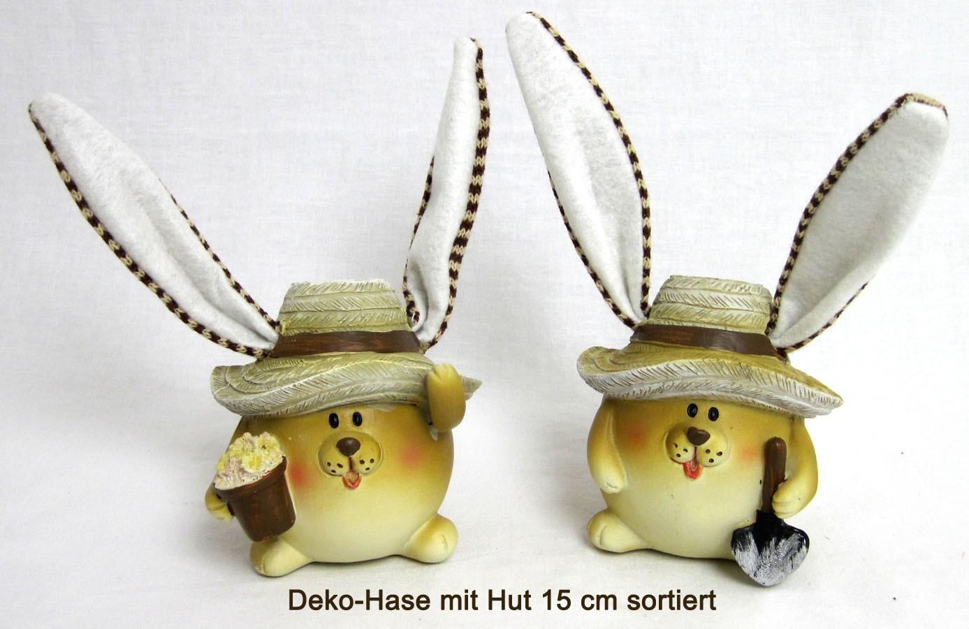 1 Hase mit Hut und langen Ohren ca. 15 cm Polyresin sortiert