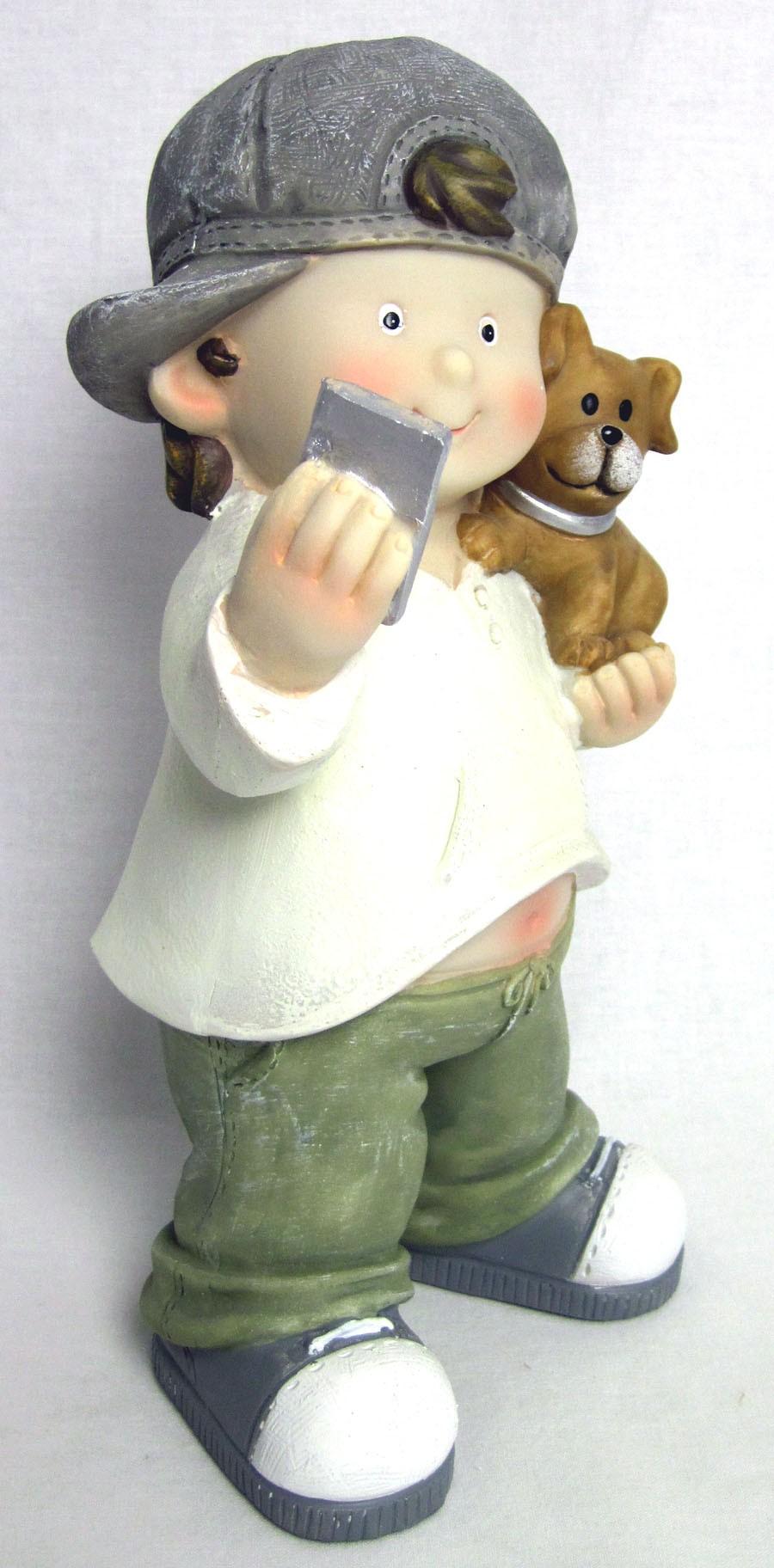 Junge mit Smartphone und Hündchen ca. 25 cm