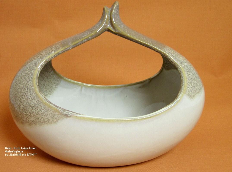 Deko - Korb beige-braun Verlaufsglasur, ca. 24x15x19 cm B/T/H