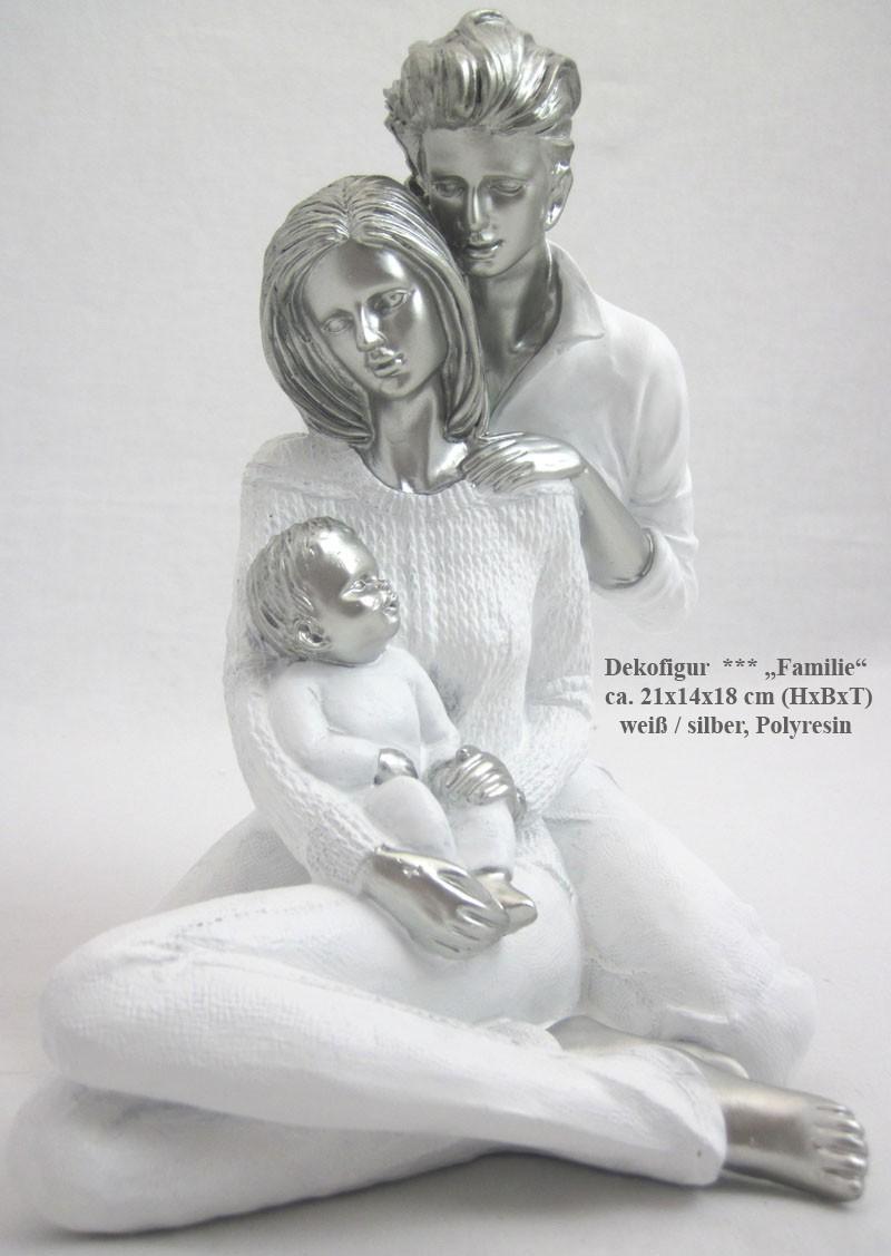 "Dekofigur ""Familie"" ca. 21x14x18 cm (H x B x T) weiss/silber, Polyresin"