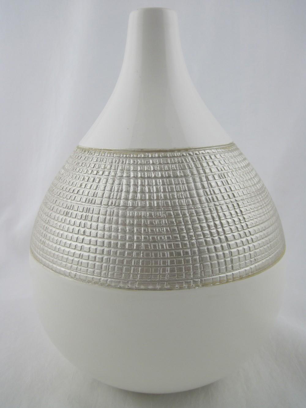 Keramik Vase weiß/champagner ca. 31 cm