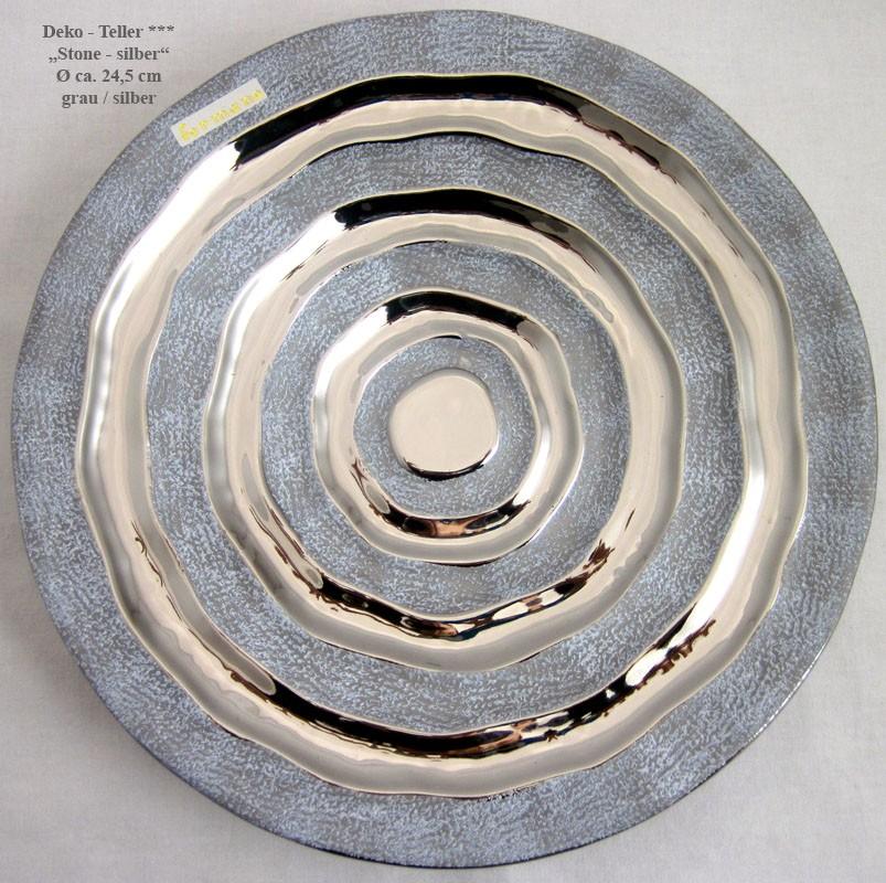 Dekorativer Keramik Teller, Ø ca. 24,5 cm rund, Stone-Silber