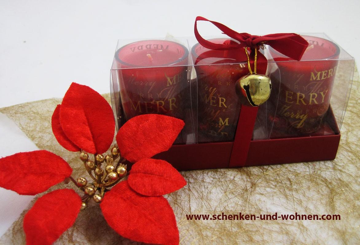 3er - Set Duft -Teelichter im Glas, weihnachtlicher Schriftzug - Rot