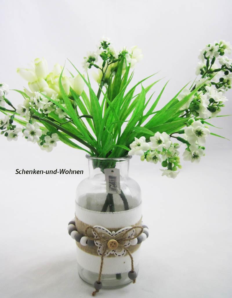 Deko-Flasche im romantischem Landhausstil ca. 16 cm