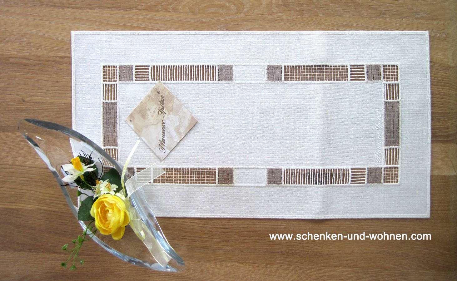 Tischläufer 25x50 cm eckig ecru-bronze Plauener Spitze