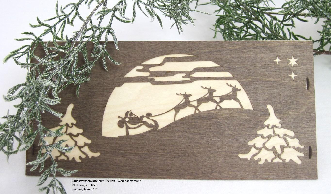 Glückwunschkarte zum Stellen Weihnachtsmann  Furnier 21 x 10 cm