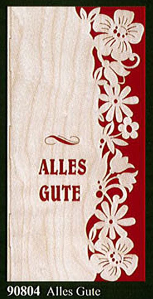 """Glückwunschkarte """"Alles Gute"""" Klappkarte-Furnier 21 x 10 cm"""