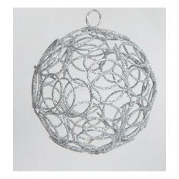Drahtball, Drahtkugel -wellige Maschen, Silber ca. 8 cm Durchmesser