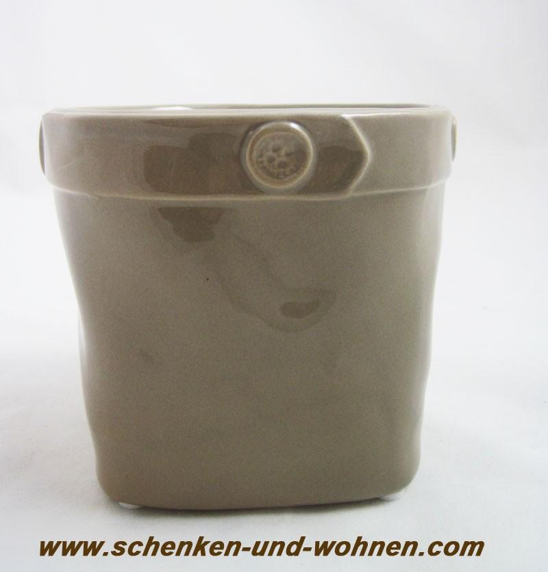 Übertopf, Pflanztopf mit Knopfdekor,  Taupe ca.12,0 cm hoch