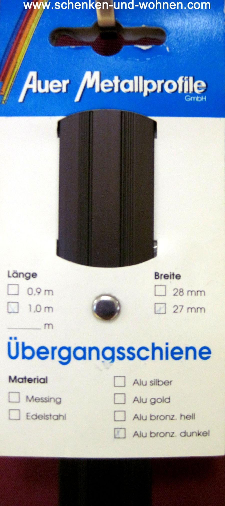 Übergangsprofil 27x1,7 mm 1,0 m bronze dunkel gebohrt
