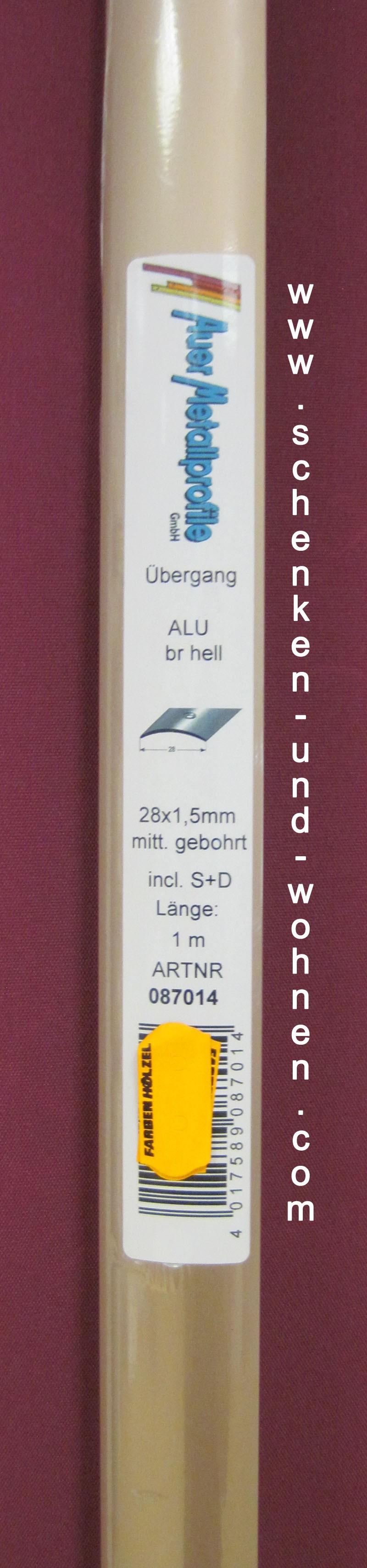 Übergangsprofil 28x1,5 mm 1,0 m bronze hell gebohrt