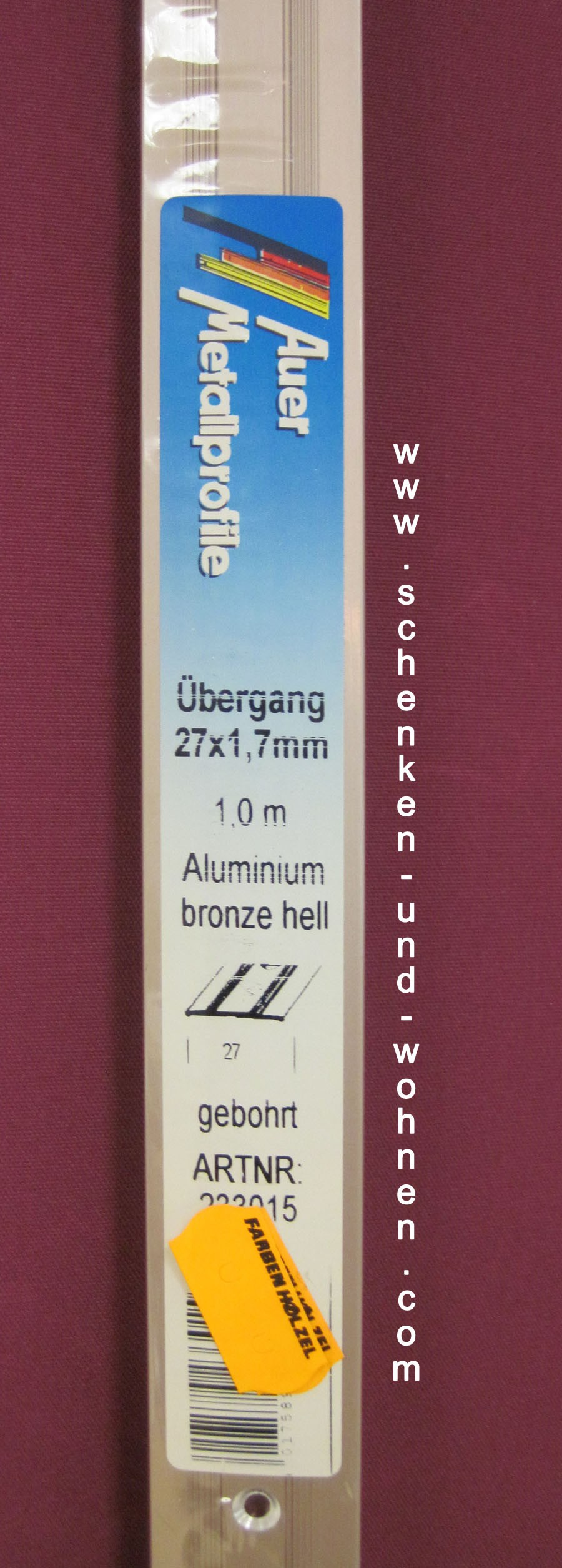 Übergangsprofil 27x1,7 mm 1,0 m bronze hell mittig gebohrt