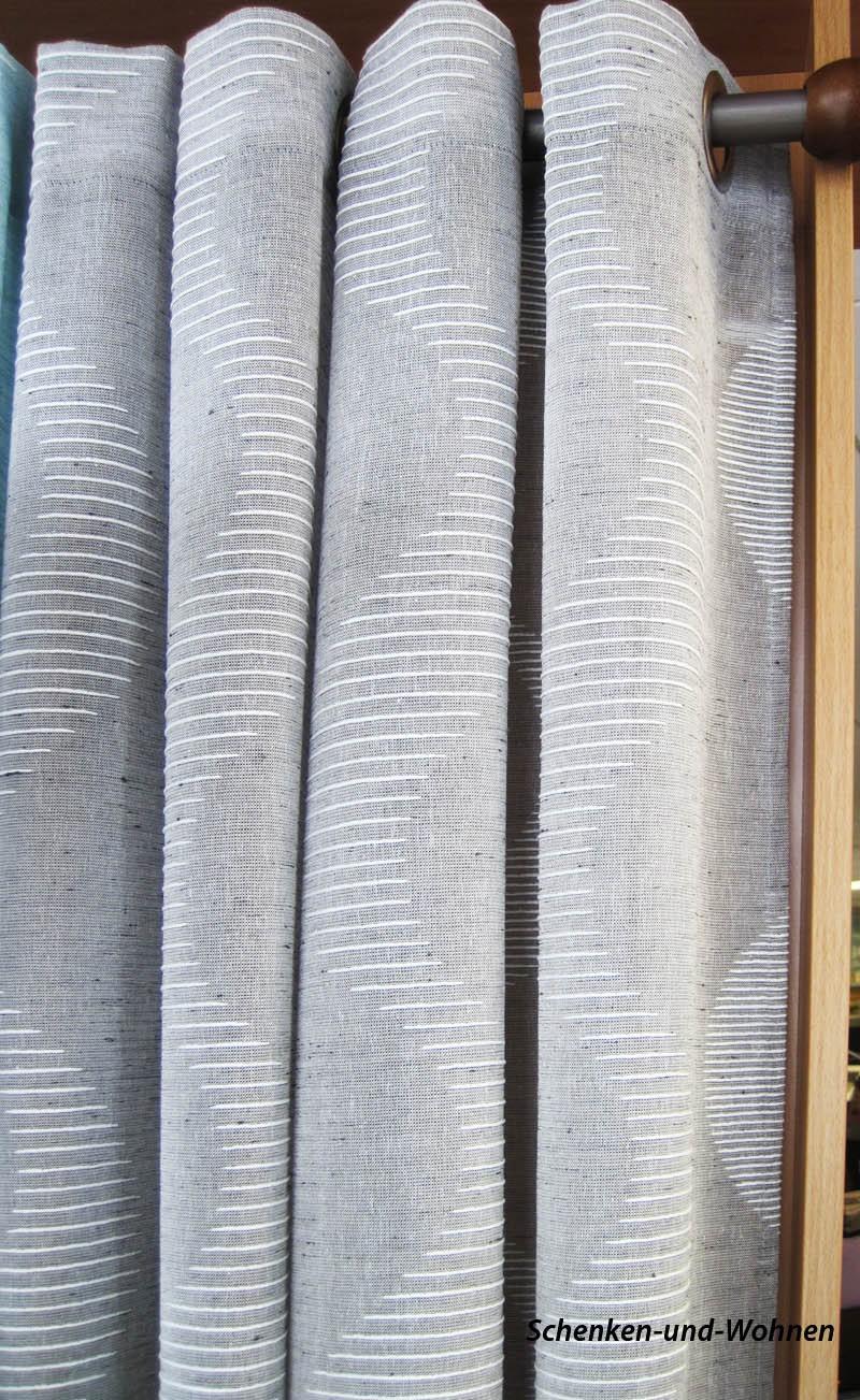 Ösenschal mit 8 Metallösen und gesticktem Wellenmotiv grau/braun 145 x 245 cm