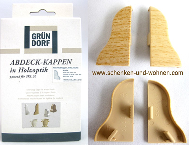 Abdeck-Kappen in Holzoptik Buche für SKL 20 1 Paar