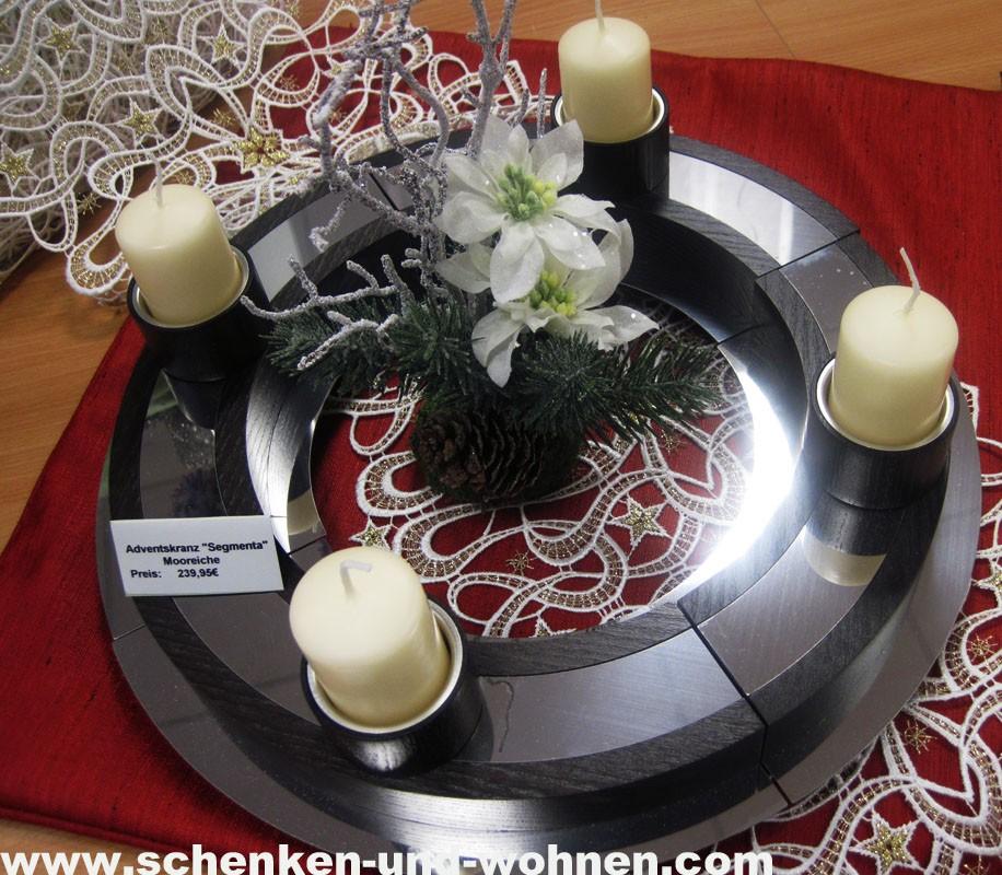 """Lichter- und Adventskranz  """"Segmenta"""" mooreiche ca. 38 x 8 cm"""