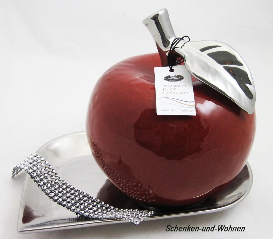 Keramik  Apfel rot mit silbernen Blatt ca. 18,5 x 18,5 x 21,0 cm (T/B/H)