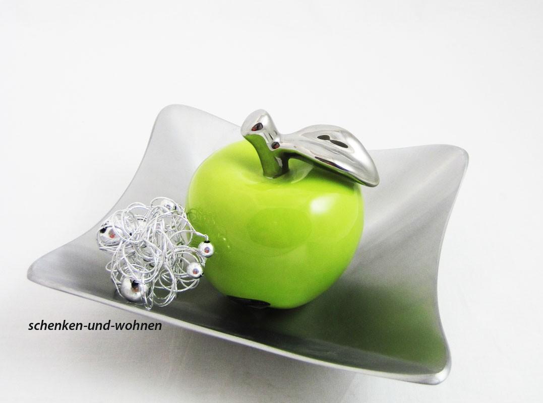 Keramik-Apfel La Viva platin-grün ca. 10 cm hoch und 8,5 cm Durchmesser