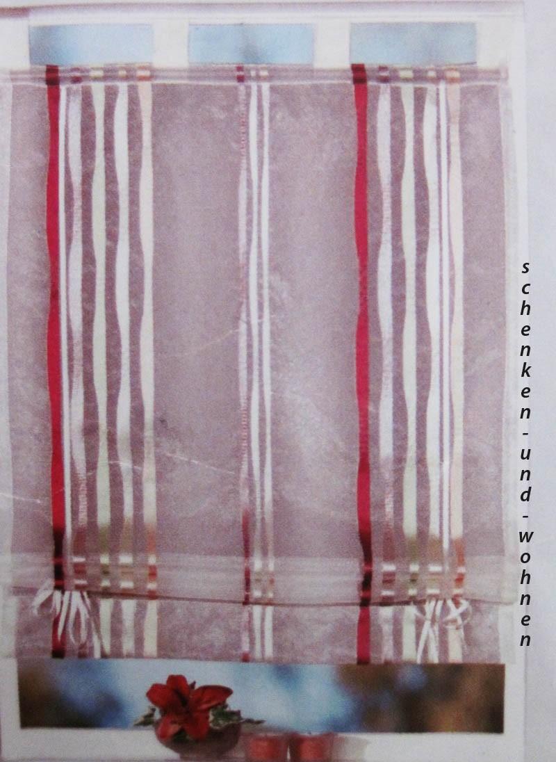 Bändchenrollo - Zugrollo , Champagner mit farbigen Streifen 110 x 160 cm