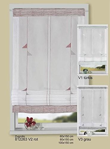 Bändchenrollo - Raffrollo mit rot - grauer Stickerei 80 x 150 cm