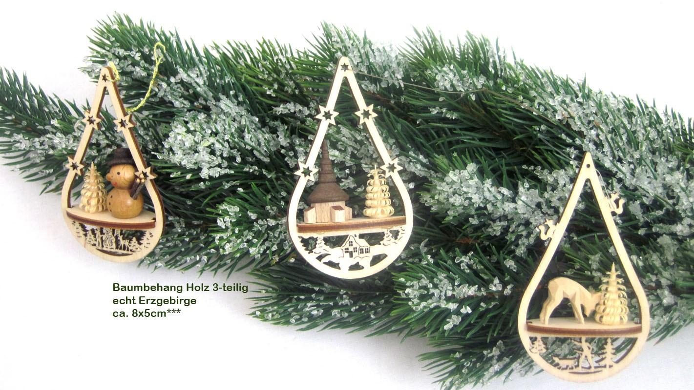Holz-Baumbehang 3 weihnachtliche Motive oval ca. 8x5cm