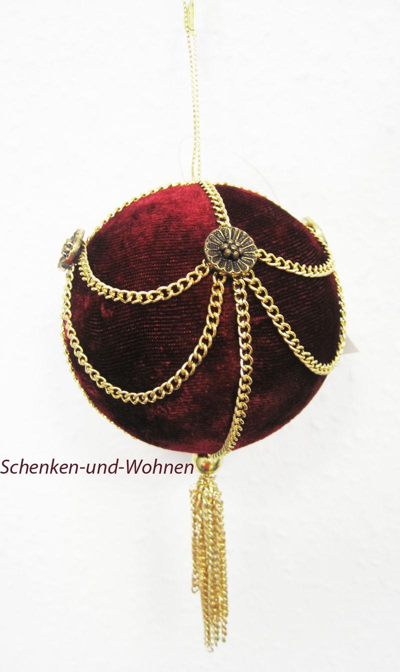 Schmuck- und Baumkugel, bordeaux mit goldener Schmuckkette, ca. 8 cm Durchmesser