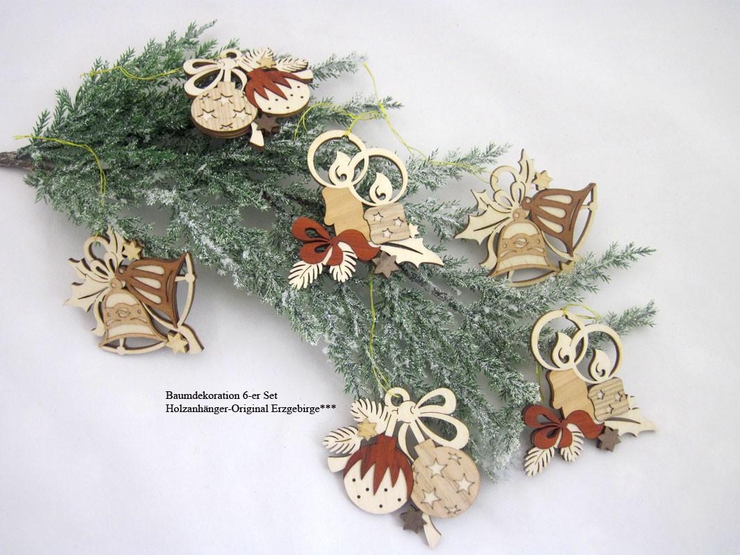 Baum- und Strauchschmuck 6-er Set Weihnachtsmotive naturfarben, ca. 7,0 cm
